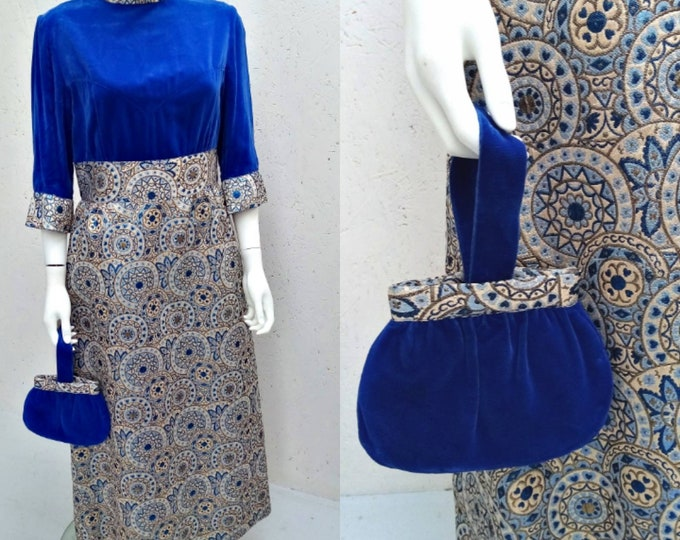 Vintage 60s Blue Velvet and Metallic Brocade Maxi Cocktail Dress with Matching Bag 42 W M L