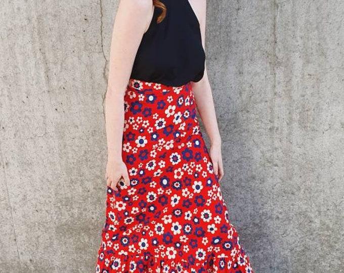 Vintage 1970s 70s Cotton Quant Style Daisy Print Maxi Skirt Red White Blue XS XXS