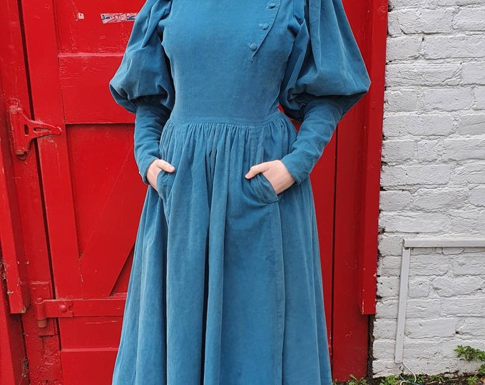 Vintage 1970s 70s Droopy and Browns  Teal Blue Needlecord Corduroy Leg o Mutton High Neck Midi Dress with Pockets UK 8 10 S M