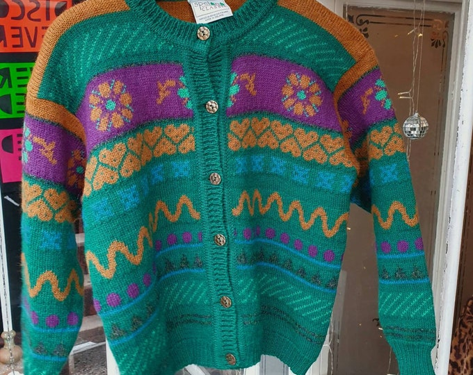 Vintage 1990s 90s Pure New Wool Multi Coloured Patterned Chunky Cardigan M