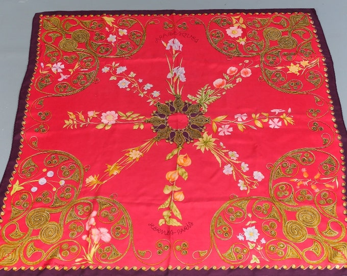 Vintage HERMES 1963 Henri d'Origny Silk Arabesques Raspberry 90cm Scarf Hand Rolled edges Vegetation  Floral Flowers Red