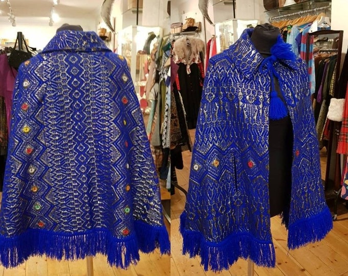 Incredible Vintage Colbalt Blue 70s Metallic Knit Embroidered Cape Poncho One Side 1970s