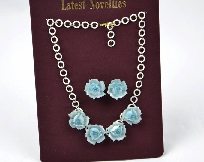 VINTAGE New Old Stock 1940's Baby Blue Celluloid Rose Necklace and Clip on Earring set on Original Sheet