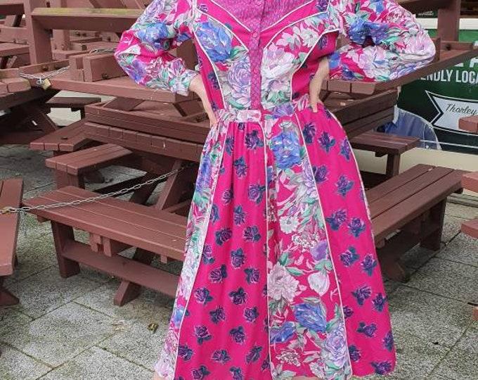 Vintage 1970s 1980s 70s  Hot Pink Indian Viscose Rene Derhy  Floral Rose Print  Knee Length Belted  Dress with Pockets S M