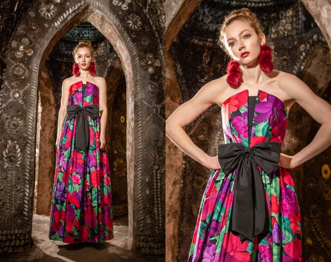 Vintage 1980s Vibrant Floral Strapless Trina Lewis Maxi Dress Prom Huge Bow Sculpted Bodice S uk 6 26 inch Waist