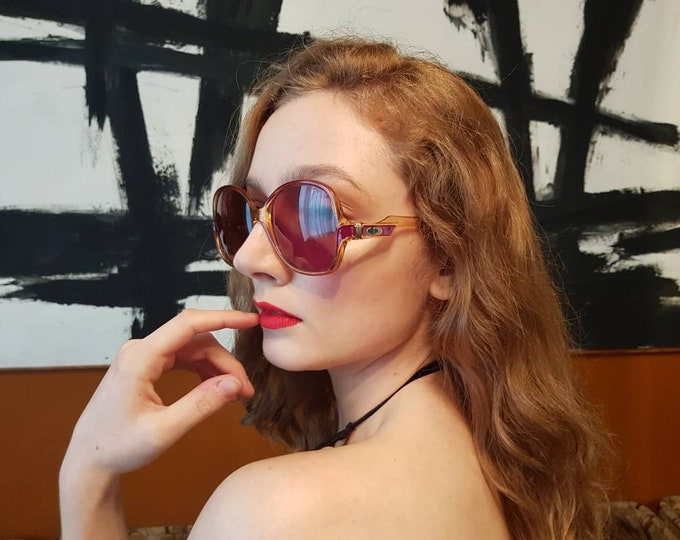 Vintage 70s 1970s Christian Dior Over Size Sunglasses Smoked Amber Deep Red