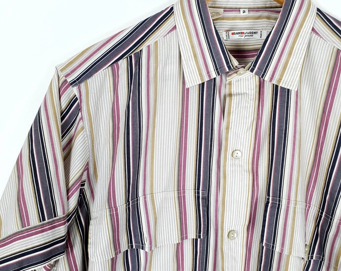 Vintage 1970s 70s YSL Yves Saint Laurent Rive Gauche Cool Cotton Pinstriped Shirt with Short Sleeves M L