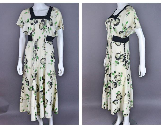RARE Quorum Moss Crepe Celia Birtwell ?  Print Ossie Clark / Alice Pollock 1960s do 1930sAbstract Fruit Print Tea Dress  S