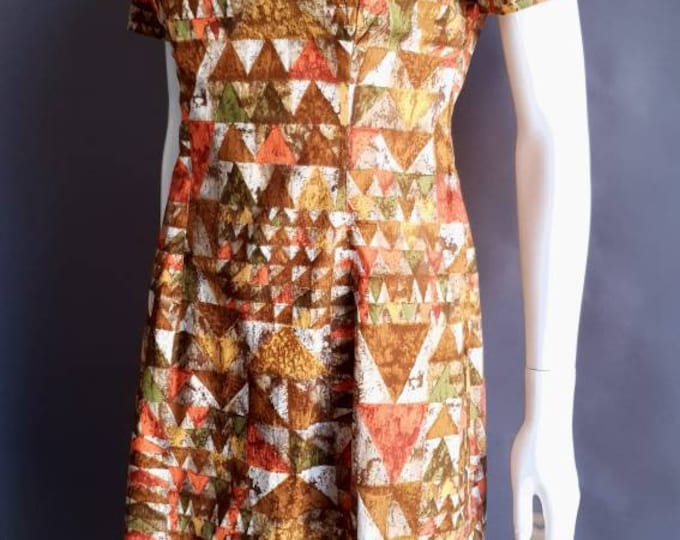 Vintage 1950s 50s Abstract Cotton Print Short Sleeved Summer Wiggle Dress M