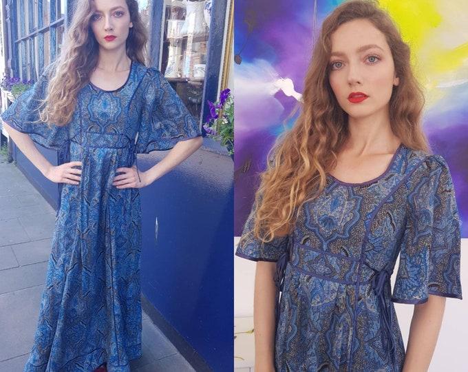 Beautiful RARE Blue vintage 70s AnnaBelinda Anna Belinda wool folk Maxi Dress Print Arts and Crafts 1970s S Ribbon Trim Flutter Slv