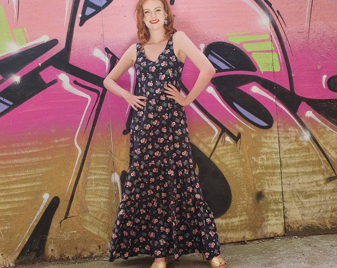 Vintage Vtg 1970s 70s Black Cotton and Pink Ditsy Floral Tiered  Maxi Dress S M