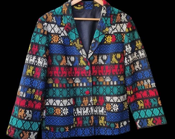 Incredible Vintage Vtg 1950s 50s Folk Guatamalan Mayan Hand Woven Cotton Blazer Tourist Jacket M L