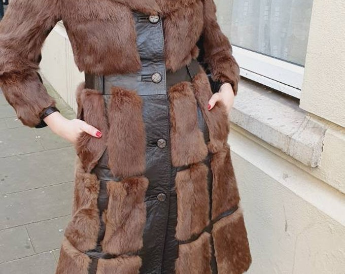 Incredible Vintage 1970s Cocoa  Coney Rabbit Real Fur and Leather 70s Spy Coat S