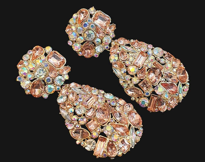 NEW 90s Designer STYLE Pastel Girly Jewel Encrusted Drop Earrings for Pierced Ears