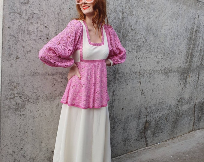 Vintage 1970s Bubble Gum Pink  Crochet and Cream Poly Maxi 70s Dress S M - Balloon Slvs