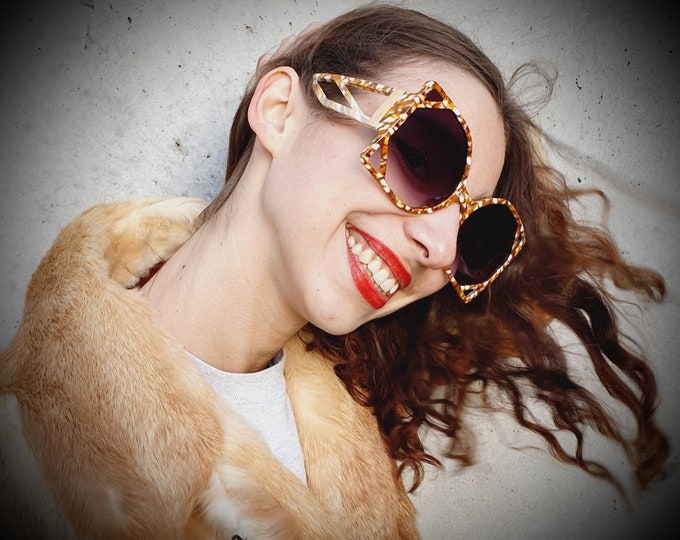 Vintage 1970s style oversized Brown and Cream sunglasses with Square Art Deco style Frames
