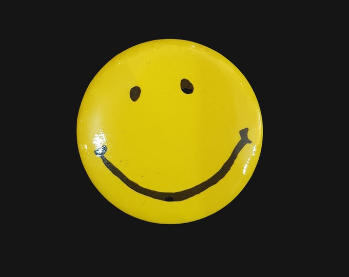 1990s Vintage Yellow Acid House Smily Face Badge
