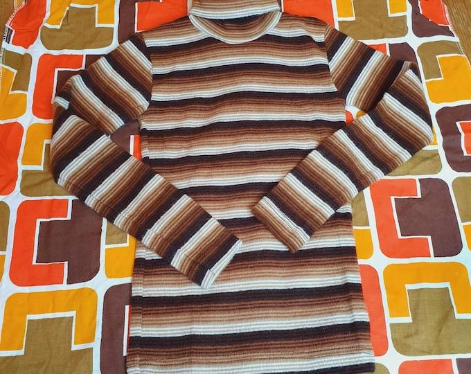 Deadstock Kids Unisex Vintage 1970s 70s Stretch Brown Striped Rollneck Turtleneck Jumper Sweater age 5 - 6 116