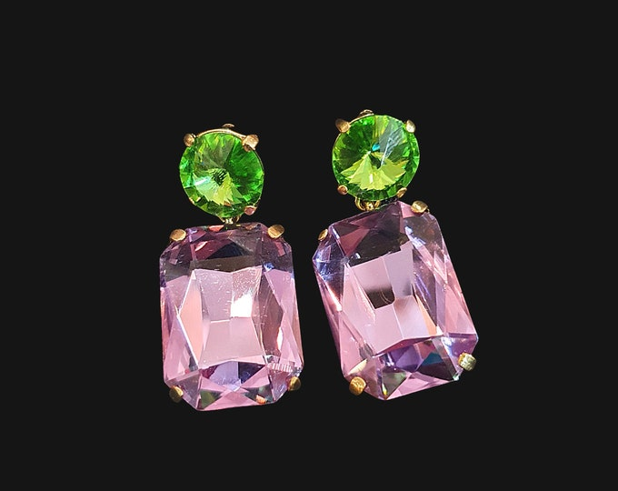 NEW 90s Designer STYLE Chunky Green and Lilac Square Stone Drop Earrings for Pierced Ears