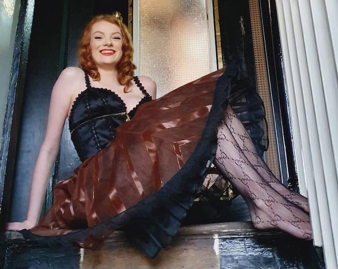 Rare Vintage 1950s 50s Double layered Metallic Gold & brown and black stiff Taffeta Net Crinoline Petticoat With Elasticated waist.  S M