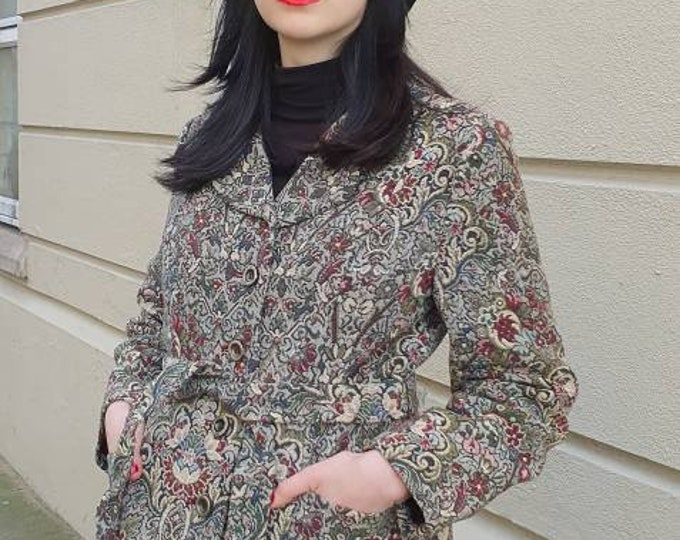 Incredible Vintage 1960s 60s Alexander Newman Arts and Crafts - William Morris Style - Tapestry Belted Coat Jacket M