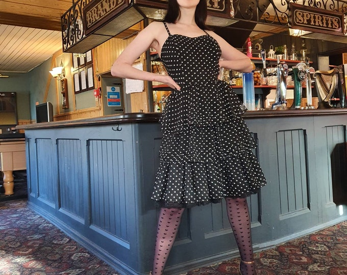 Classic 1980s 80s Flirty Black and White Vintage Polka Dot Rara Ruffle Skirt Strappy Dress M uk 12