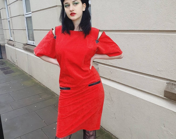 Punk New Wave New Romantic Vintage 80s 1980s Red Velour Dress  with zips and PVC pocket trim Size 10