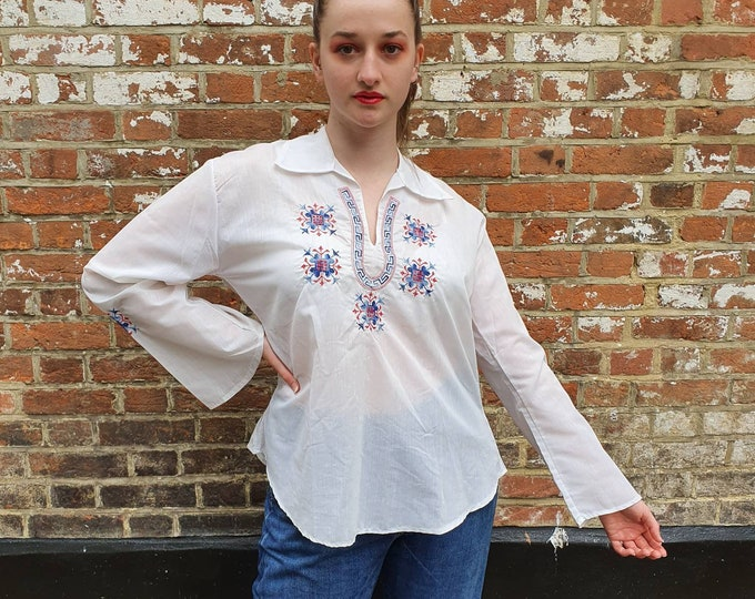 Vintage 70s 1970s Peasant Gypsy Blouse Top with pretty Folk Cross Stitch Embroidery in blue and red Size M-L