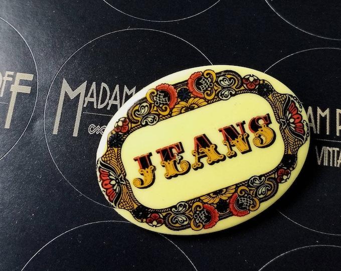 Vintage 70s does 30s Art Nouveau Jeans Plastic Brooch Badge