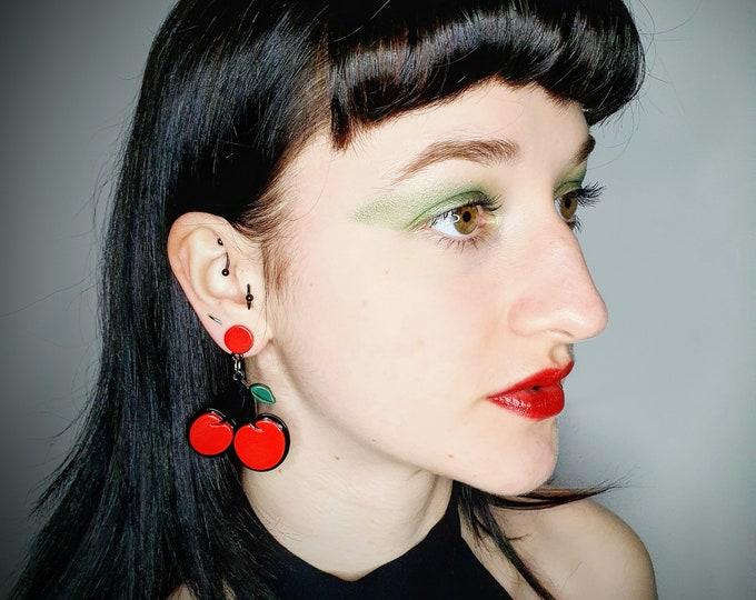 Oversized Acrylic Cherry Earrings for pierced ears.