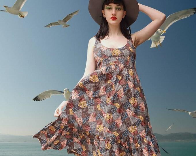 """Vintage 1970s 70s Cotton Patchwork Print """"Hollie Hobbie"""" Style Midi Dress M 10 12"""
