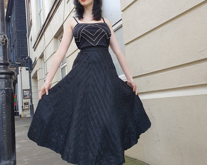 Stunning Vintage  1950s 50s  Full A Line Black Sparkly Chevron Striped Midi Length Evening Skirt by Jobrey 26 inch Waist