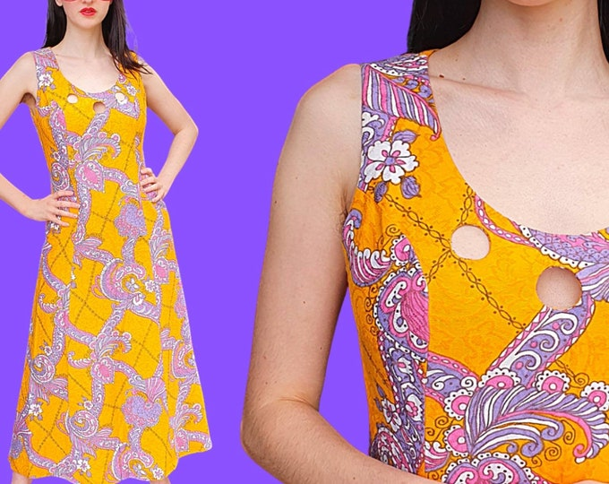 Stunning Couture 1960's 1970's Vibrant Orange Psychedelic Cotton Print Maxi Dress Key Hole Bust by Maison van Schijndel UK 12 L