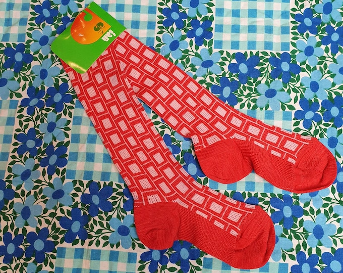 Unisex Vintage 1970s 70s Red and White Deadstock French Childrens Knee High socks in Stretch Nylon  approx age 2 - 4