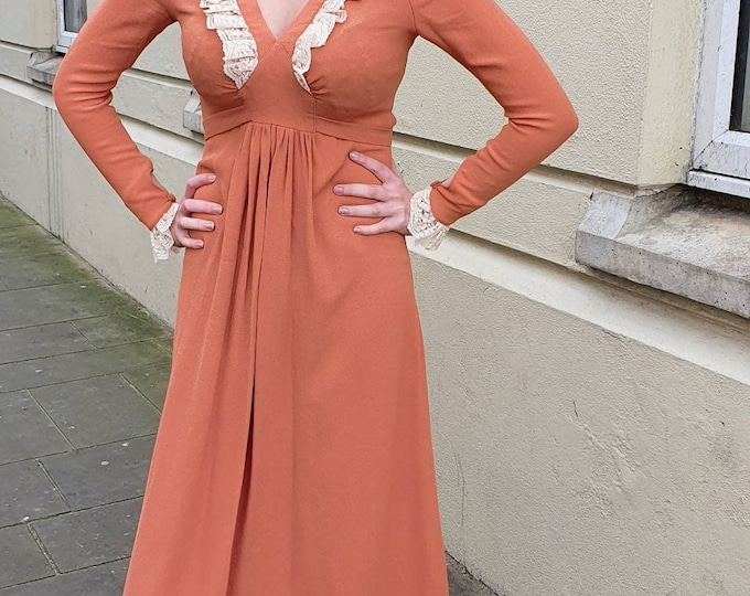 Fabulous 1970s 70s Vintage Ossie Clark for Radley Pale Cinnamon Moss Crepe Maxi Dress with Lace Trim and V neck - S M No Label!