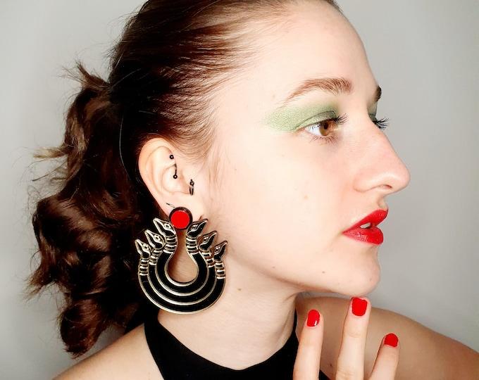 Oversized Acrylic Snake Earrings for Pierced ears. Brand New