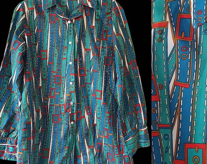 Vintage 1970's 70's Novelty BELT Print Long Sleeve Shirt  Blouse M L Polyester Silk.