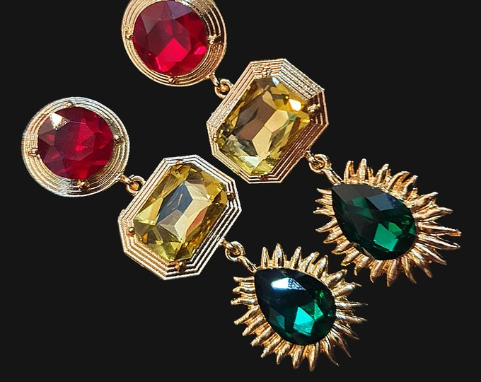 NEW 90s Designer STYLE Chunky Red Green and Gold Stone Drop Earrings for Pierced Ears