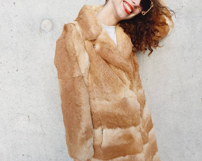 Incredible Vintage 1970s 70s Ginger and Cream Coney Real Rabbit Fur Coat - M L