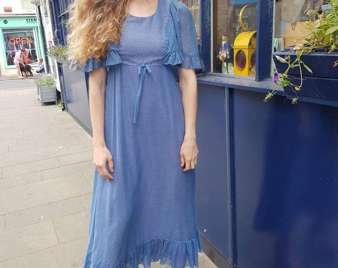 Vintage floaty 70s 1970s Gauze Dusty Blue maxi dress flounce sleeves polka dots 28 waist