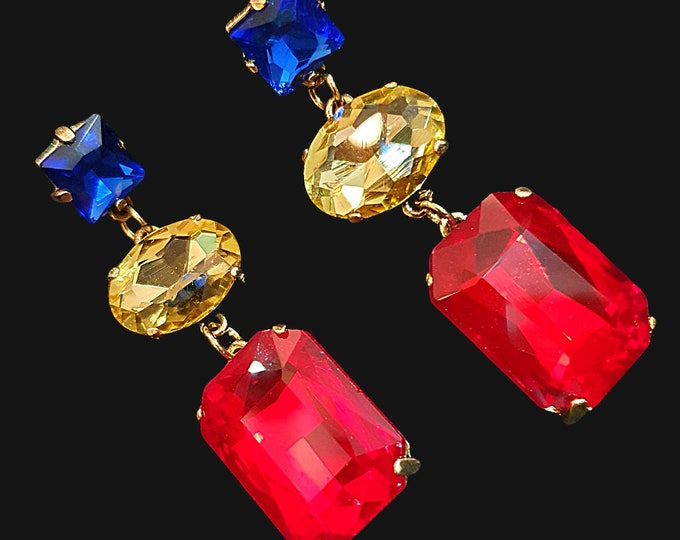 NEW 90s Designer STYLE Chunky Red Gold and Blue  Stone Drop Earrings for Pierced Ears