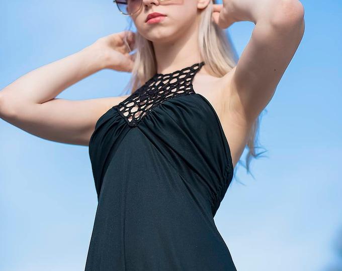 Vintage 1970s 70s Long Black  Evening Dress Maxi With Daisy Braid flower Neckline detail. Maxi Dress S M
