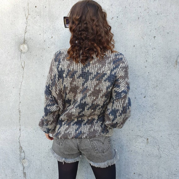 Gorgeous Vintage 1980s 80s  St Michael 1987 Mohair Mix Zip Up Houndstooth Pattern Cardigan with Pockets M L