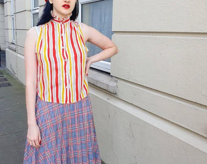 Vintage 1970s Plaid Knife Pleat A Line Knee Length Skirt M UK 10