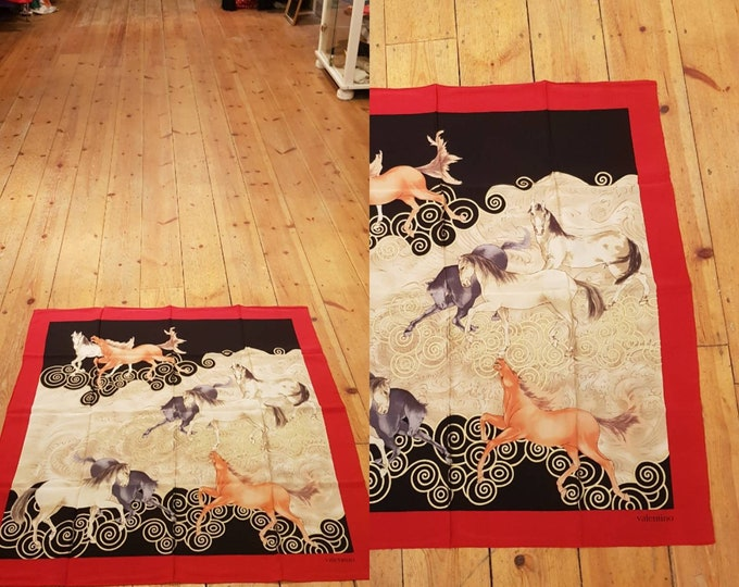 Vintage 90s 1990s Designer Valentino Oversize Horse Print  Silk Scarf Metallic Paint As New