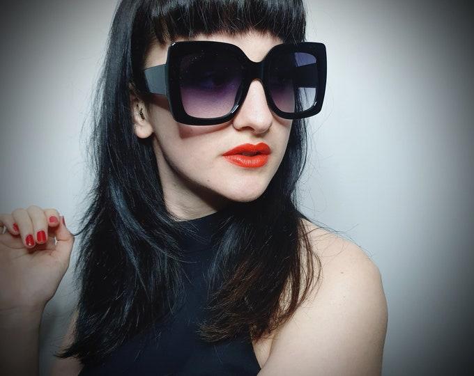 Amazing Chunky Black Oversized Square Sunglasses