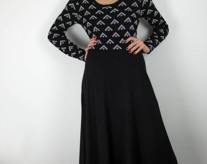 Vintage 1970s 70s  St Michael Lurex Knit Maxi dress M