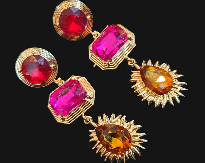 NEW 90s Designer STYLE Chunky Red Cerise and Gold Stone Drop Earrings for Pierced Ears