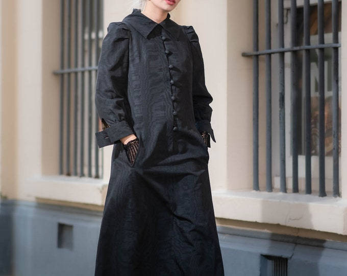 Vintage Couture 1960s 60s Christian Dior Diorling Black Button Down Tailored Midi Evening Dress With Pockets Numbered S M