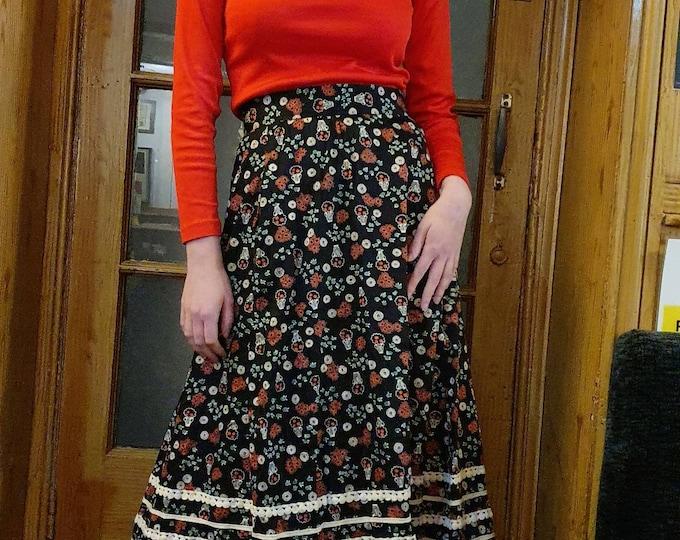Vintage VTG  1970s 70s Vibrant Floral Celia Birtwell Style Print Cotton Folk Midi A Line Skirt with Linen Trim and Pockets S 26 inch Waist